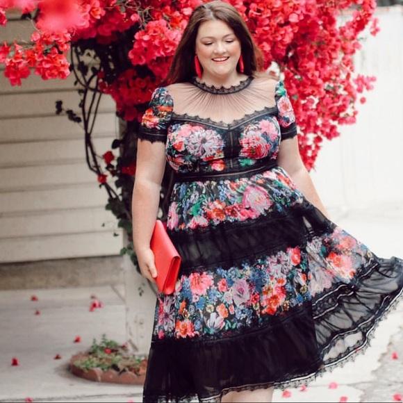 Tadashi Shoji Lace Floral Midi Dress Size 18